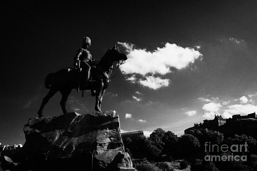 Princes Photograph - Royal Scots Greys Boer War Monument In Princes Street Gardens With Edinburgh Castle In The Backgroun by Joe Fox