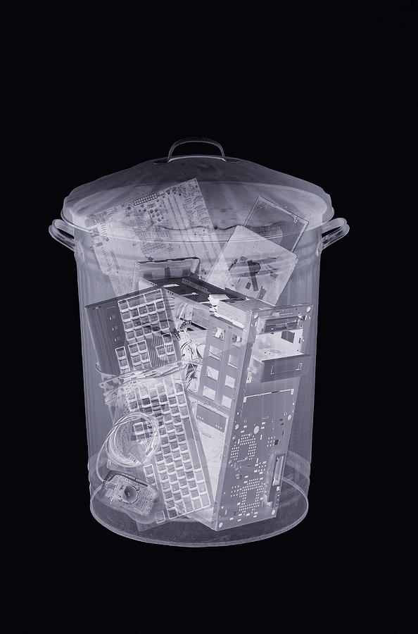 Monochrome Photograph - Rubbish Bin, Simulated X-ray by Mark Sykes