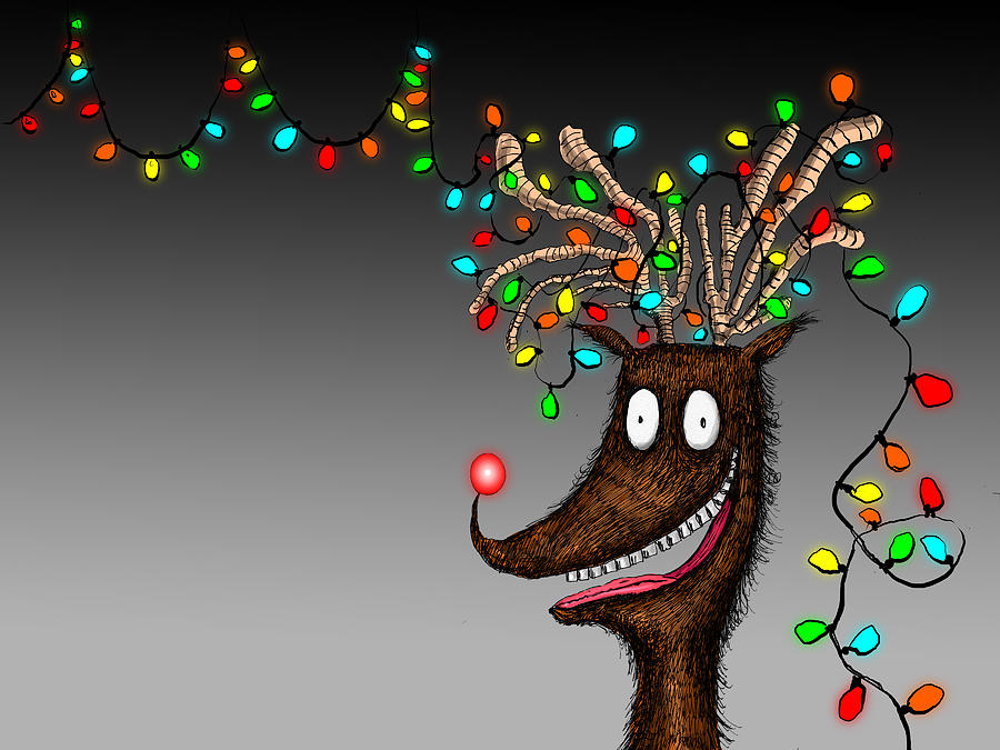 horizontal digital art rudolph reindeer christmas lights tangle by dain fagerholm