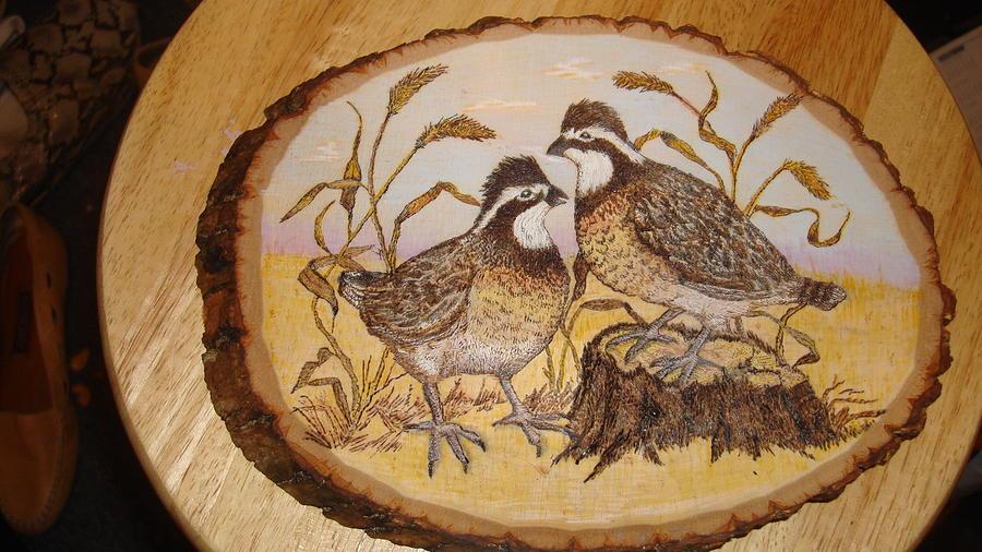 Nature Pyrography - Ruffed Grouse Chat by Dakota Sage