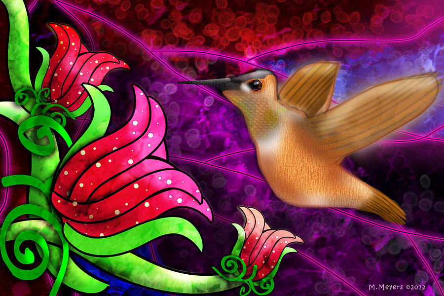 Hummingbirds Digital Art - Rufous Dinner Guest by Melisa Meyers