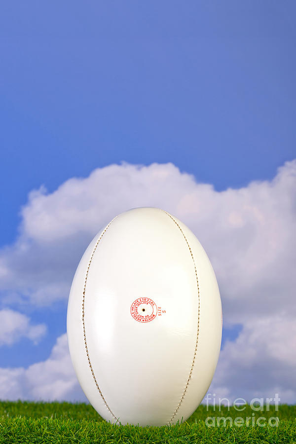 Rugby Ball Photograph - Rugby Ball Teed Up On Grass by Richard Thomas