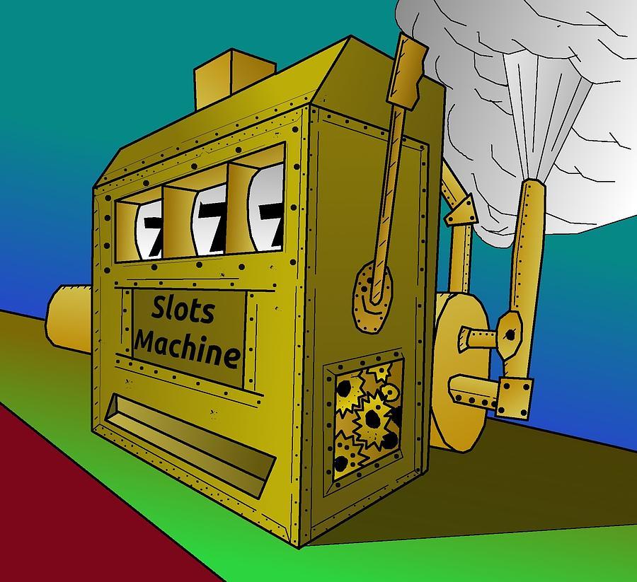 Rugged Drawing - Rugged Steampunk Slot Machine by Casino Artist