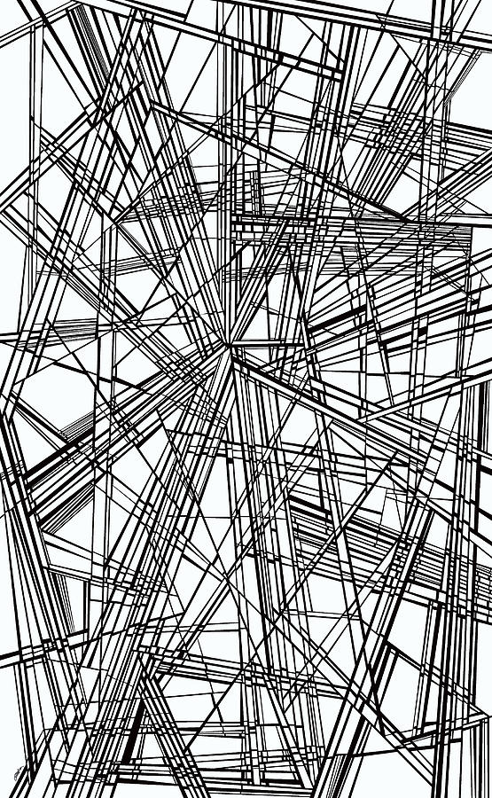 Dynamic Black And White Painting - Run by Douglas Christian Larsen