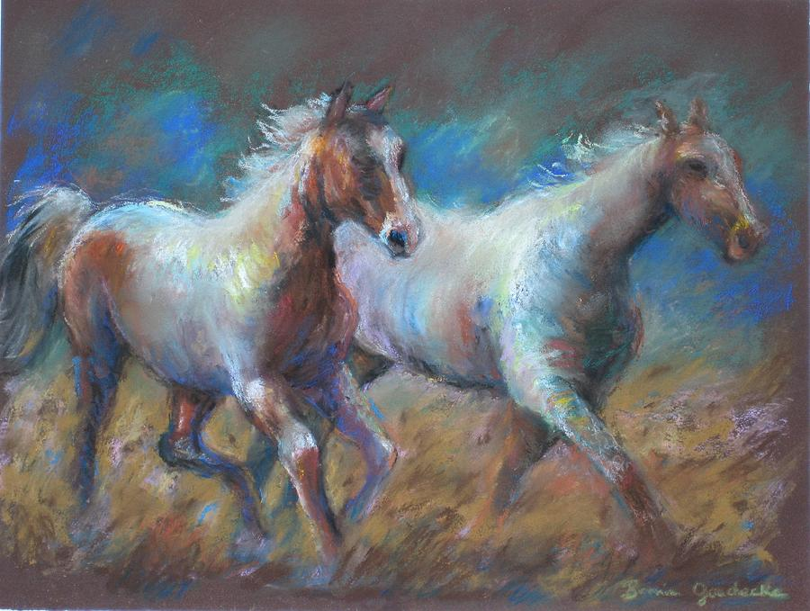 Horse Painting - Running Free by Bonnie Goedecke