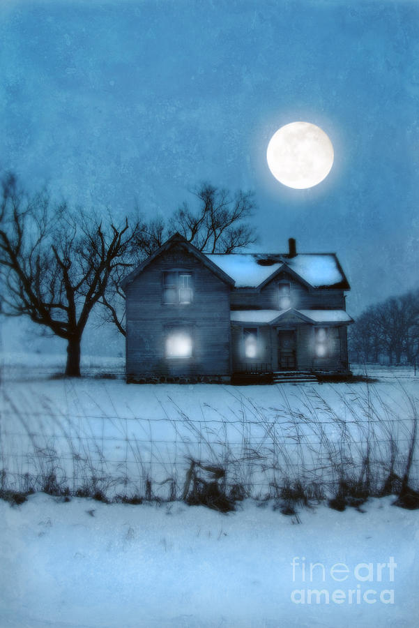 Rural Photograph - Rural Farmhouse Under Full Moon by Jill Battaglia
