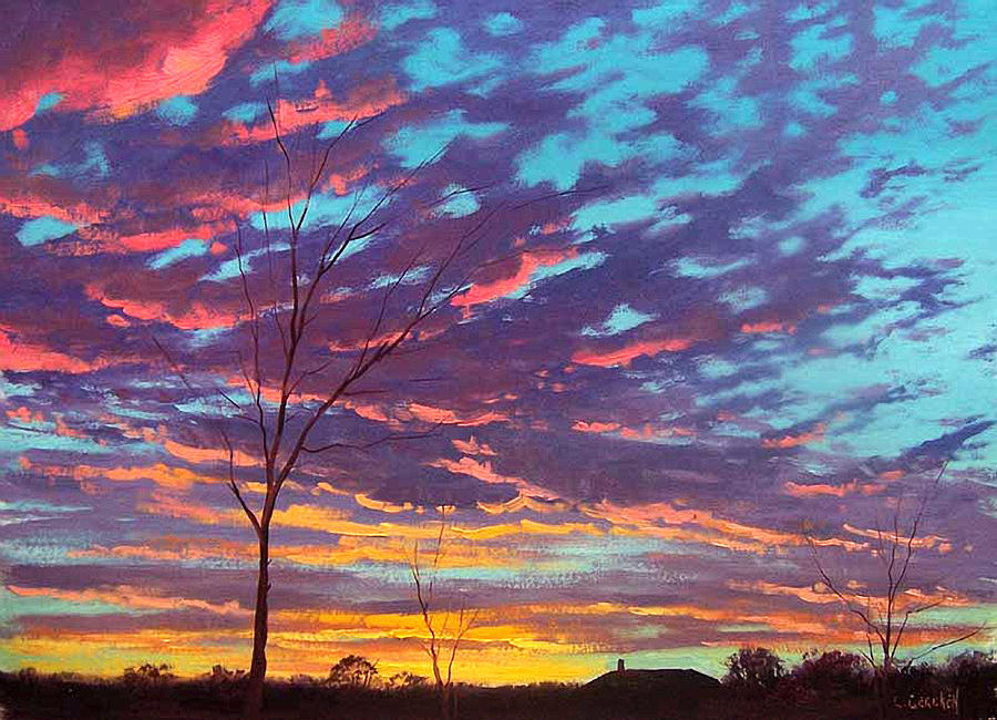 Rural Sunset Painting