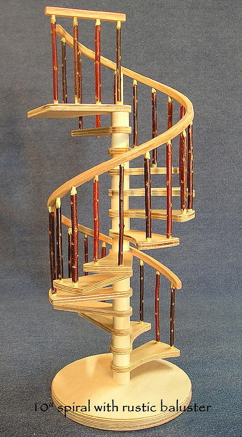 Architectural Model Sculpture   Rustic Miniature Spiral Staircase By Don  Lorenzen