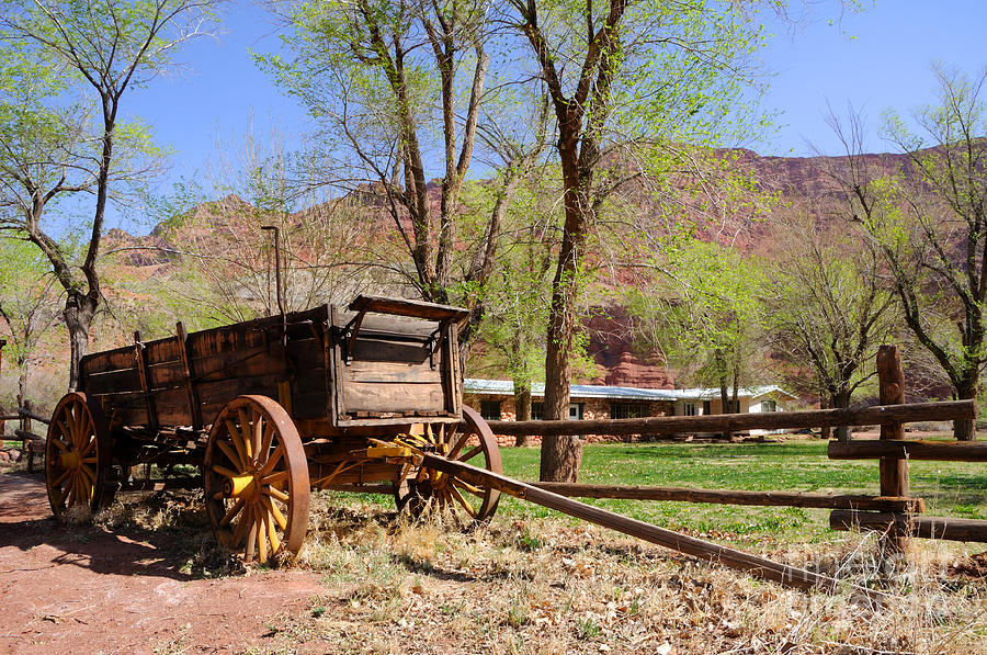 Blue Photograph - Rustic Wagon At Historic Lonely Dell Ranch - Arizona by Gary Whitton