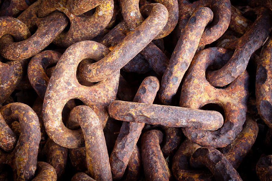 Keys Photograph - Rusty Anchor Chains In Key West by Adam Pender