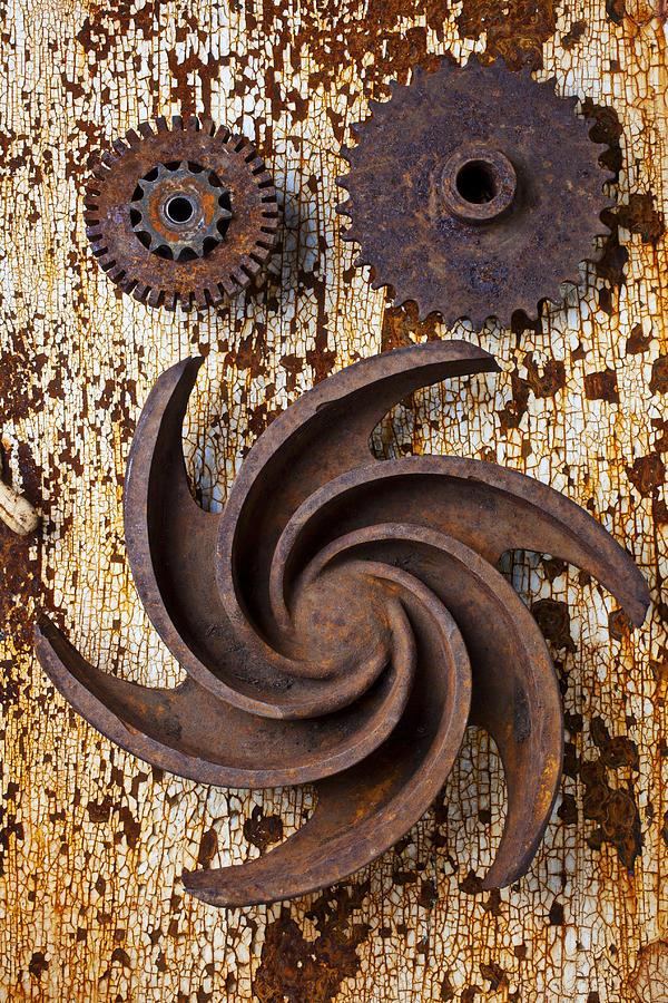 Rusty Photograph - Rusty Gears by Garry Gay