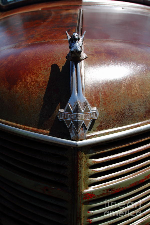 Transportation Photograph - Rusty Old 1935 International Truck Hood Ornament. 7d15503 by Wingsdomain Art and Photography