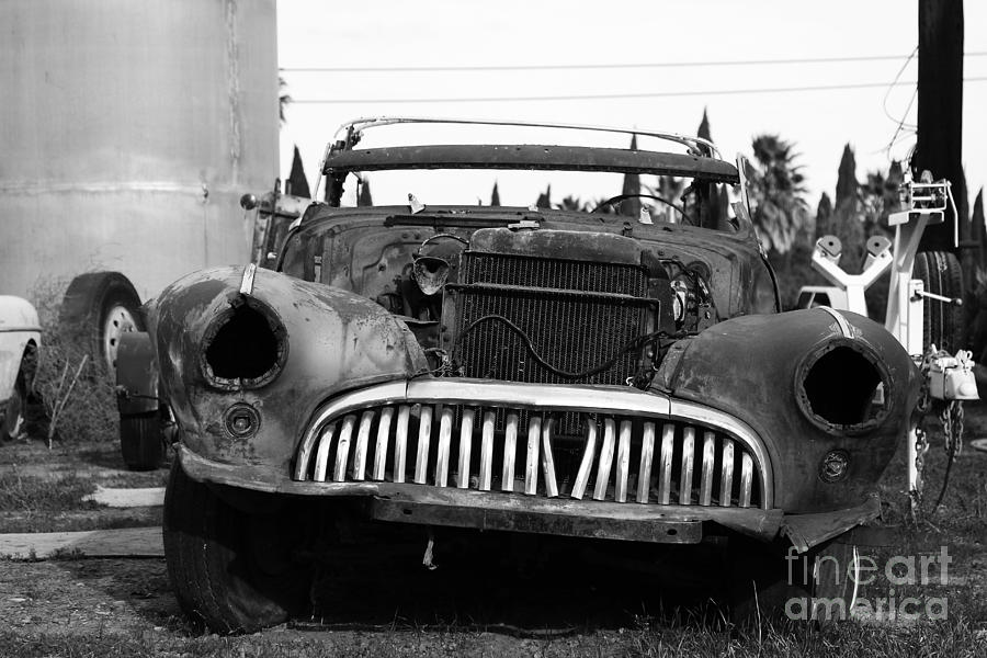 Black And White Photograph - Rusty Old American Car . 7d10343 . Black And White by Wingsdomain Art and Photography