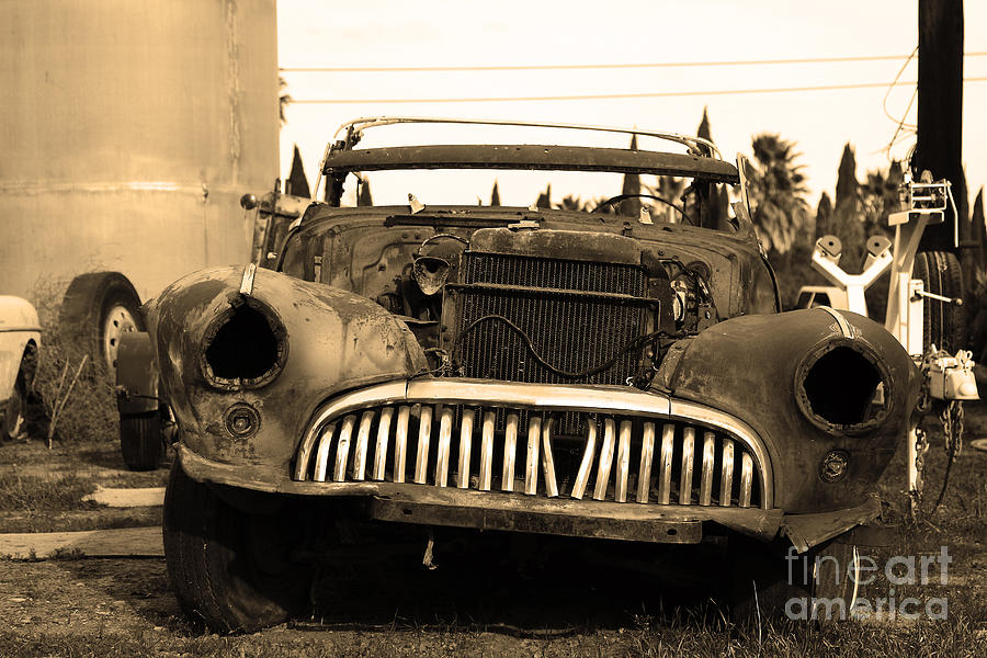 Black And White Photograph - Rusty Old American Car . 7d10343 . Sepia by Wingsdomain Art and Photography