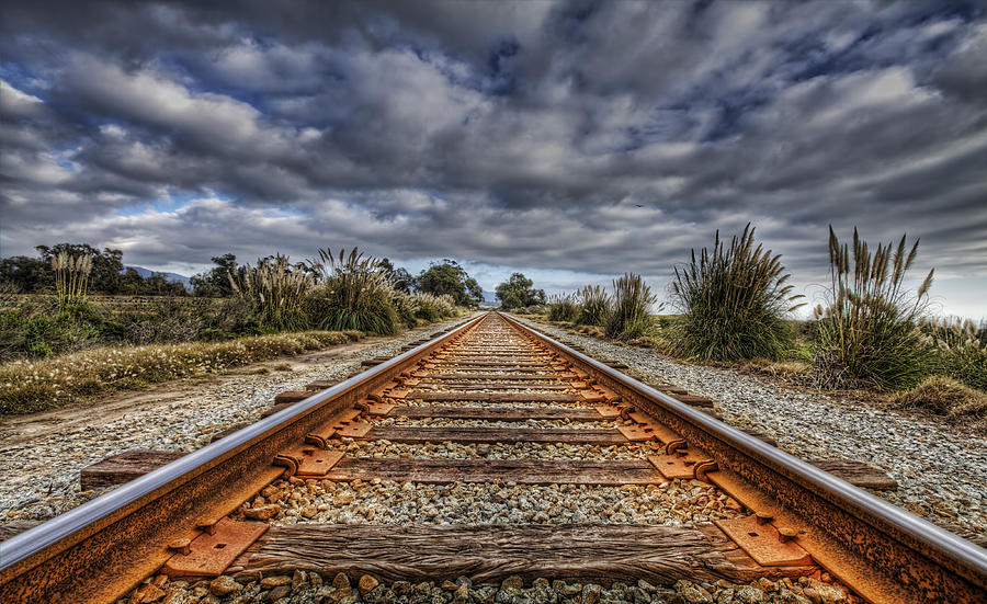 Hdr Photograph - Rusty Rail Line And Fog Clouds by Lachlan Kay