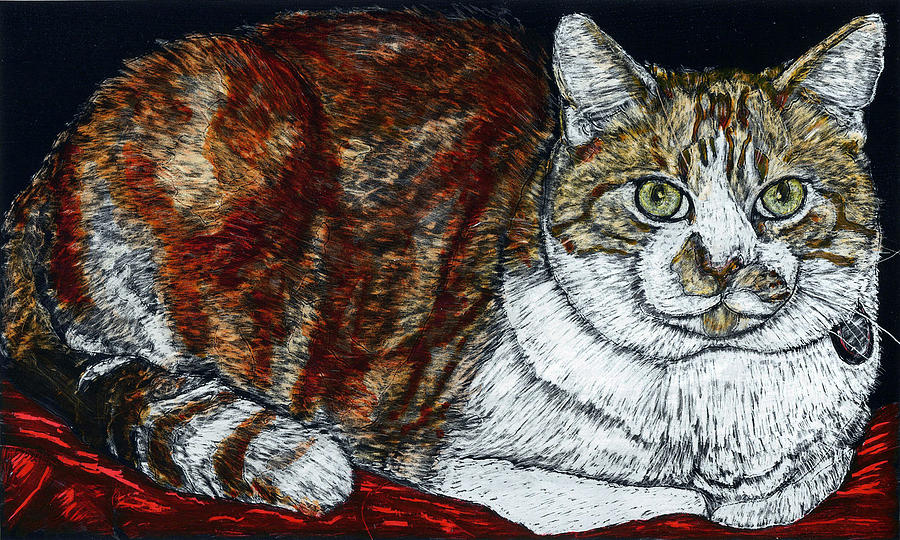 Scratchboard Painting - Rusty The Cat by Robert Goudreau