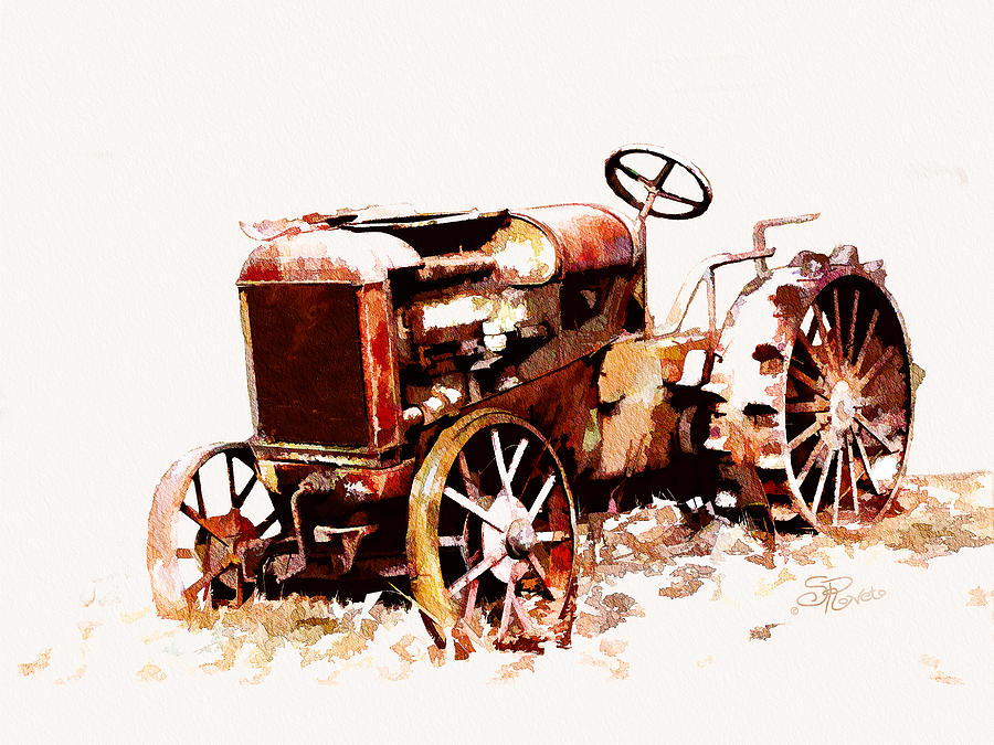 Antique Painting - Rusty Tractor In The Snow by Suni Roveto