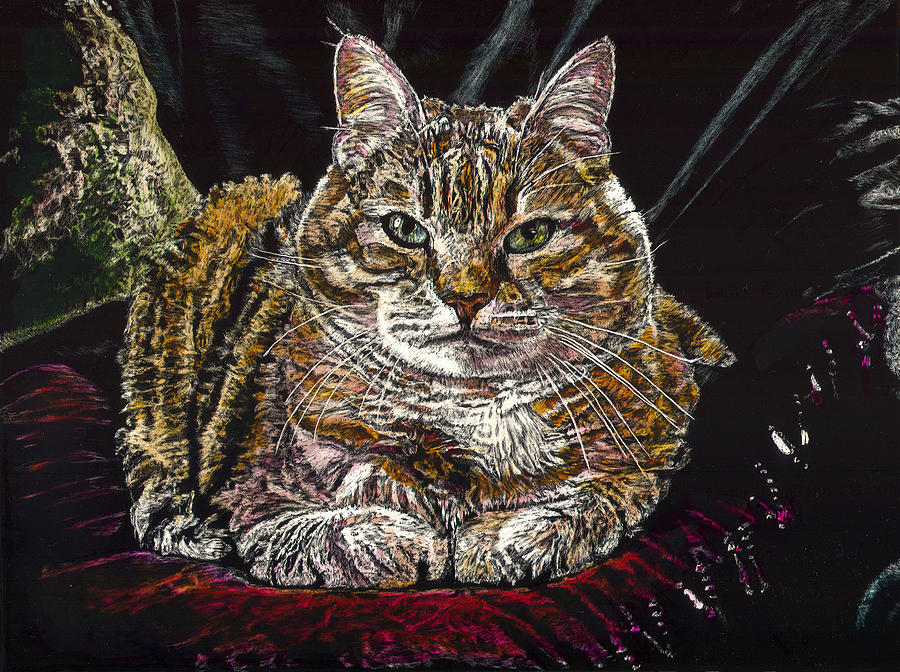 Tiger Cat Painting - Ruthie the Cat by Robert Goudreau