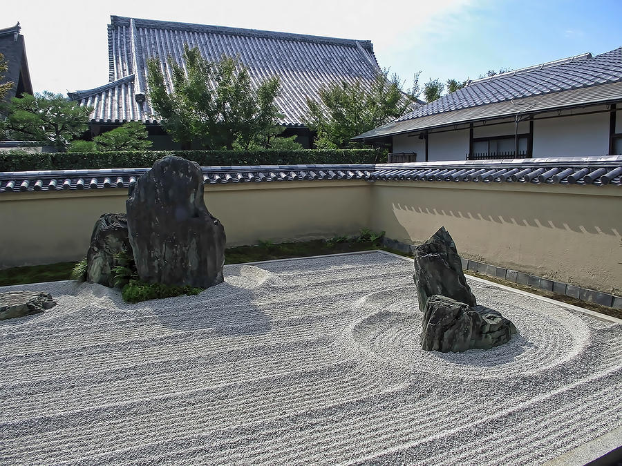 Japan Photograph - Ryogen-in Raked Gravel Garden - Kyoto Japan by Daniel Hagerman