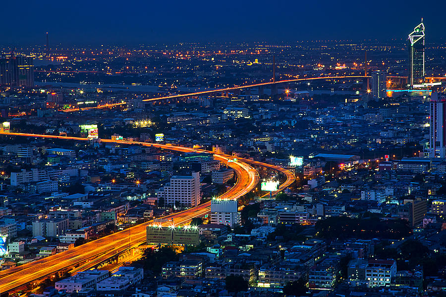 Bangkok Photograph - S Curve At Bangkok City Night Scene by Arthit Somsakul