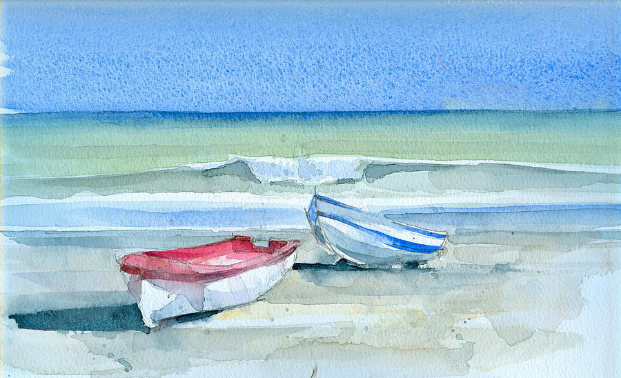 Sea Painting - Sabinillas Fishing Boats by Stephanie Aarons