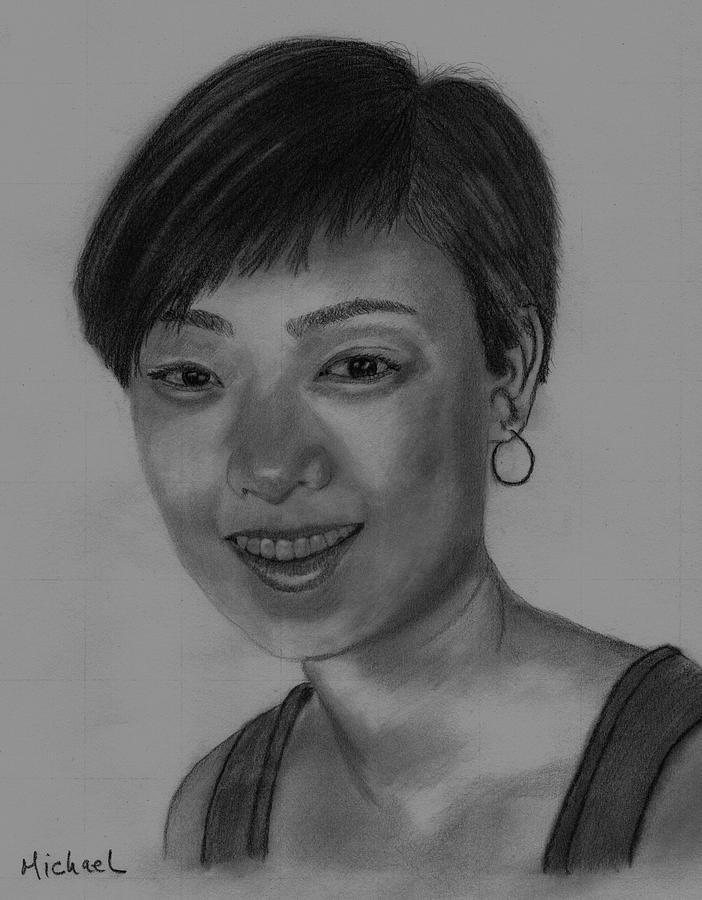 Chinese Girl Drawing - Sabrina by Michael Brennan