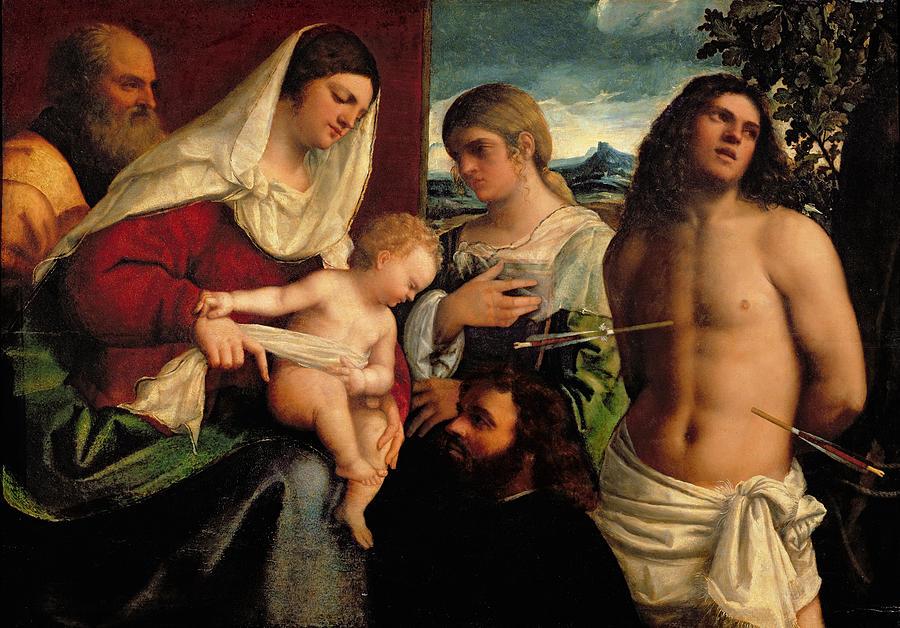 Arrow; Donor; Saint; Jesus; Mary Painting - Sacra Conversatione With Ss Catherine Sebastian And Holy Family by Sebastiano de Piombo