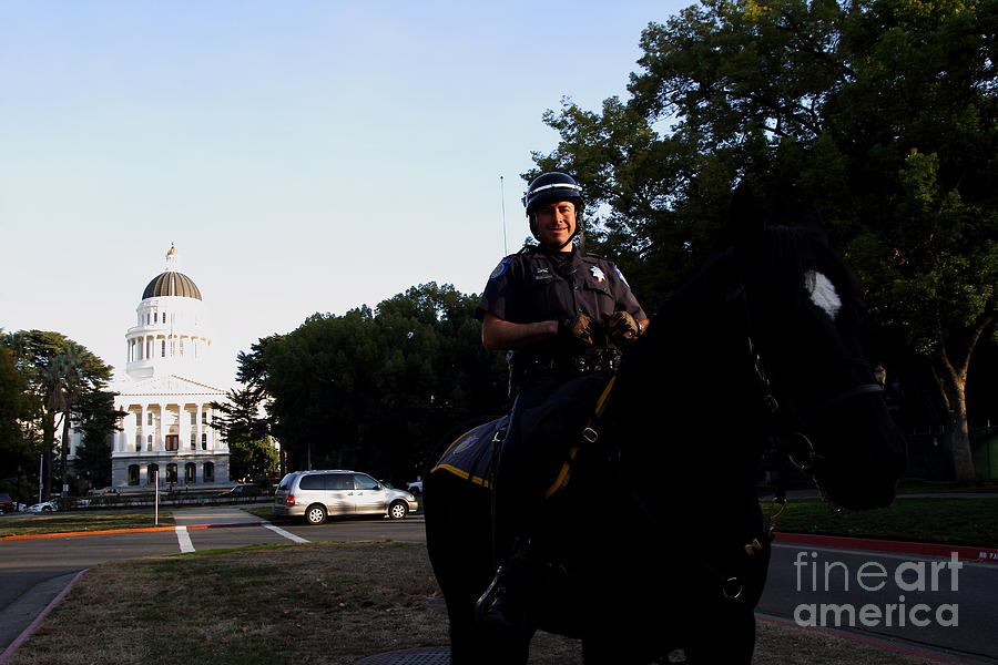 Cityscape Photograph - Sacramento Police Mounted Association Horse Patrol At The California State Capitol . Spma . 7d11785 by Wingsdomain Art and Photography