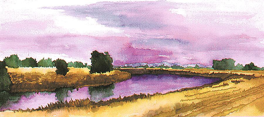 Landscape Painting - Sacramento River by Eunice Olson
