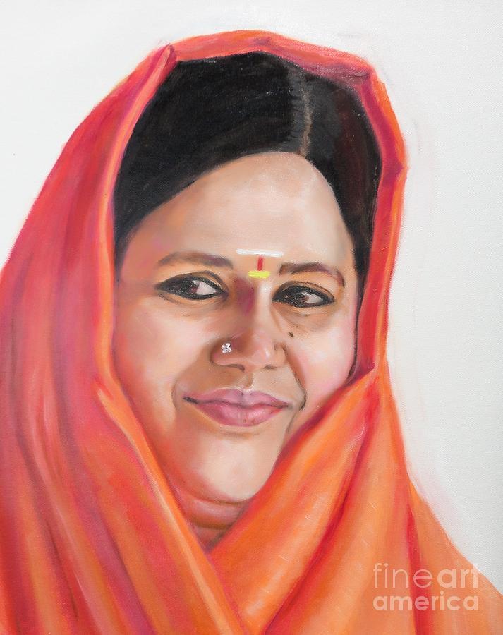 Amma Painting - Sacred Beauty by Ziba Bastani