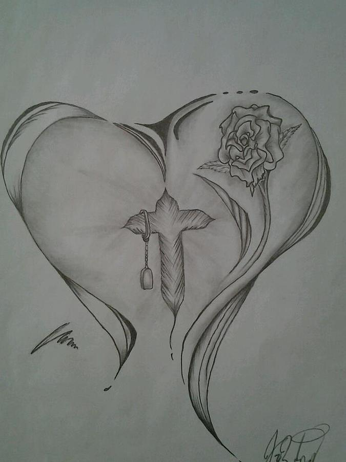 Sacred Heart Drawing - Sacred Heart by Jason Rodriguez