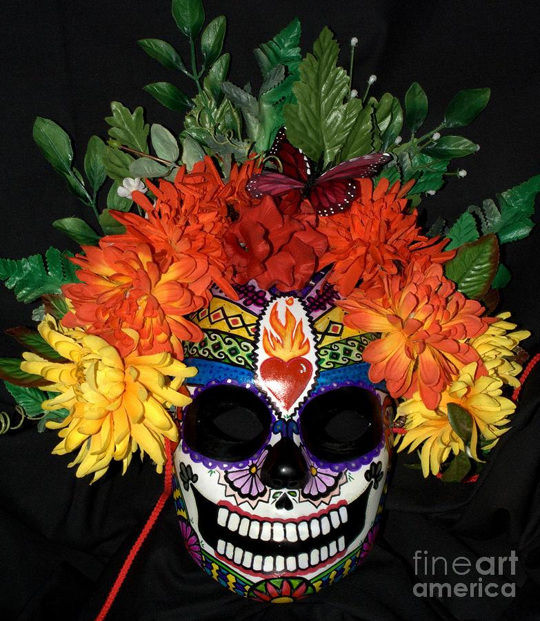 Dia De Los Muertos Sculpture - Sacred Heart Sugar Skull Mask by Mitza Hurst