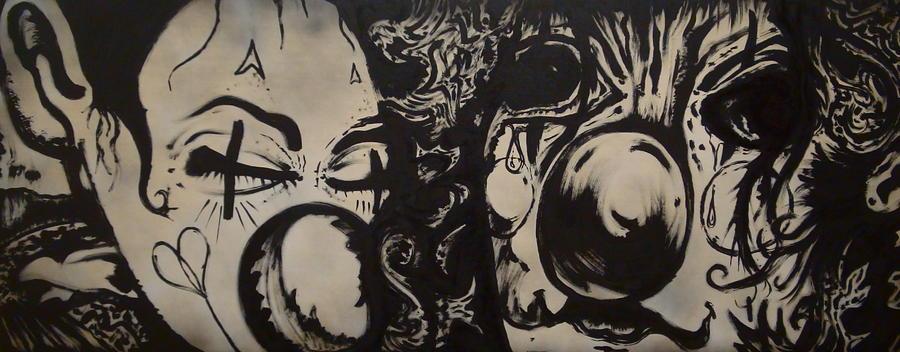Sad Painting - Sad Clowns by Travis Burns