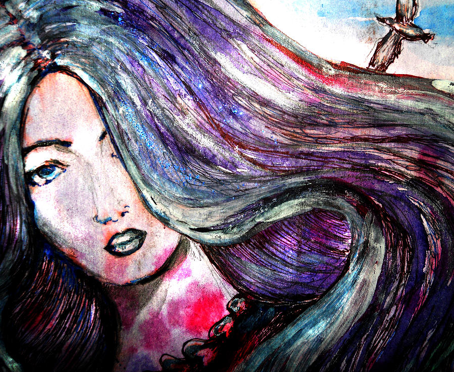 Water Color Drawing - Sad Woman Eyes by Vesna Disic