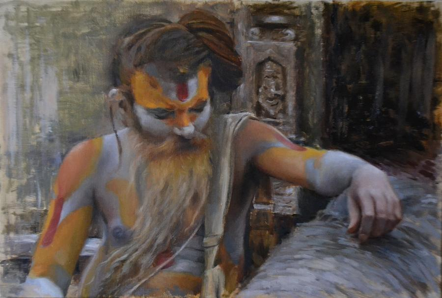 Nepal Painting - Sadhu On The Banks Of Bagmati by Phil Couture