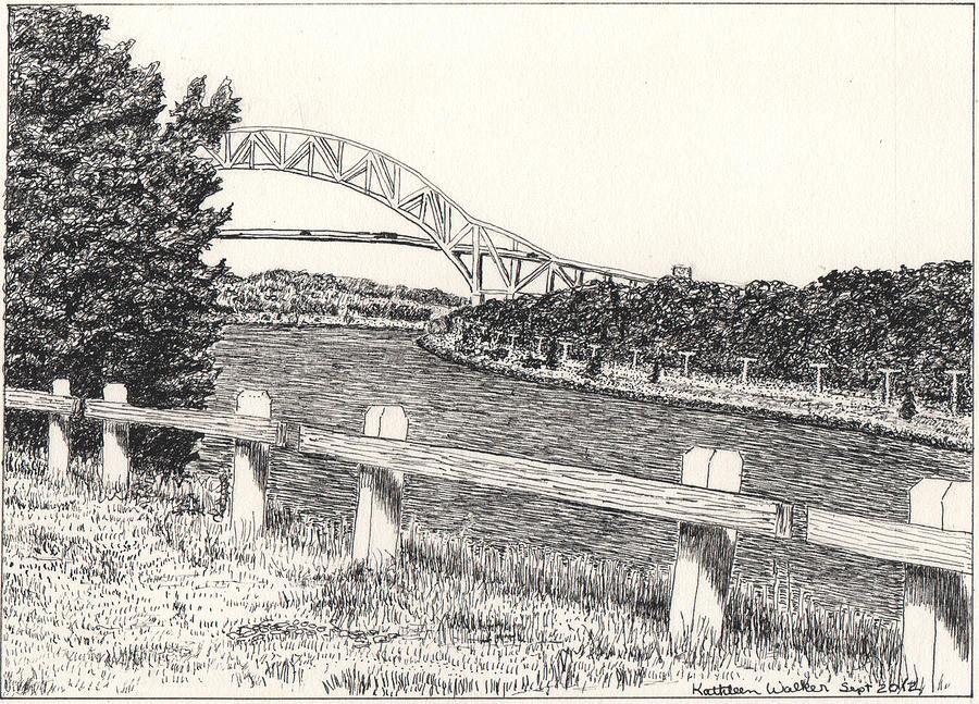 Landscape Drawing - Sagamore Bridge Cape Cod Canal by Kathleen Walker