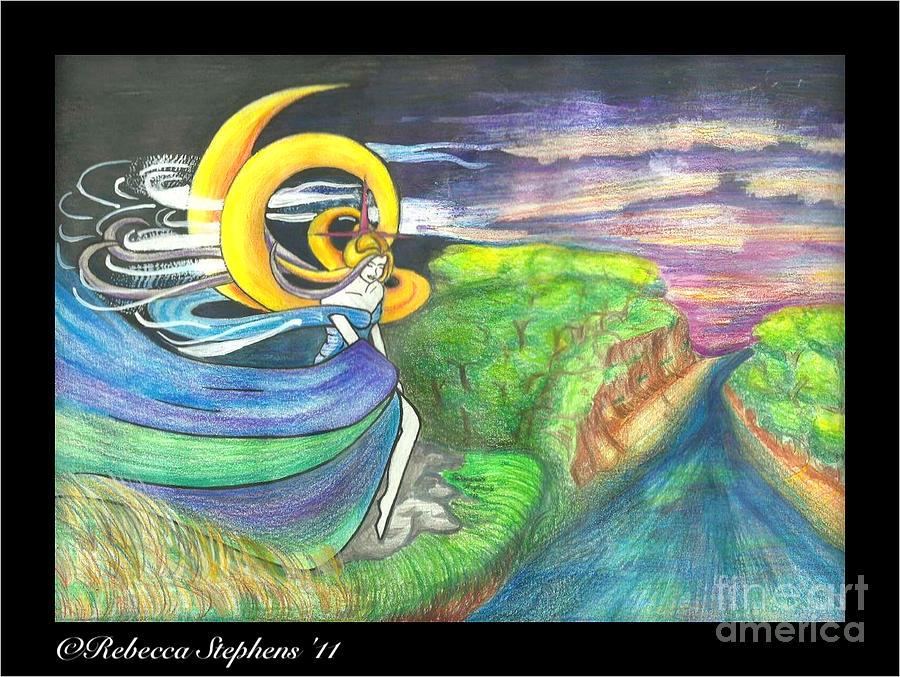 Sage Drawing - Sage Moon by Rebecca Stephens