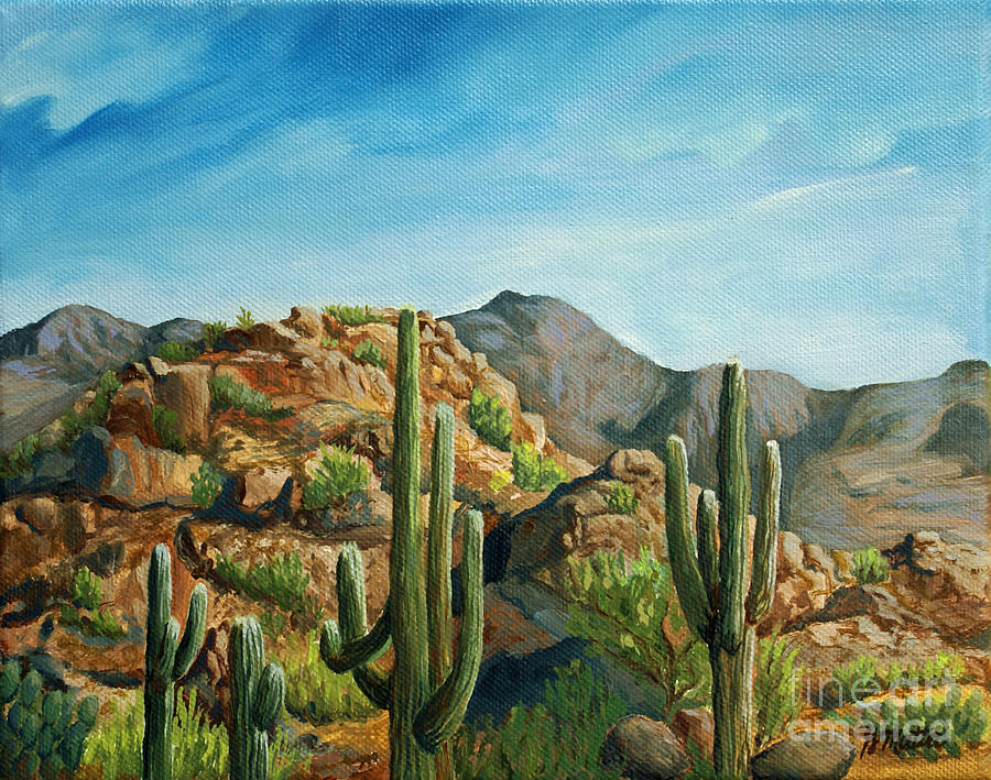 Landscape Painting - Saguaro Canyon by Gretchen Matta