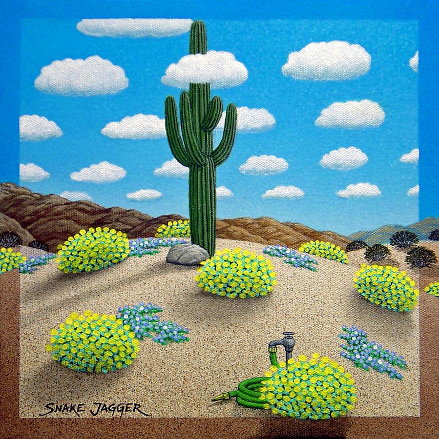 Desert Painting - Saguaro by Snake Jagger