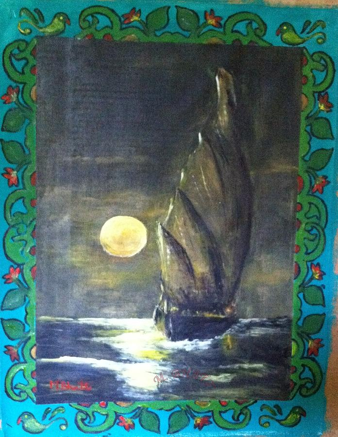 Seascape Painting - Sail At Night by M Bhatt