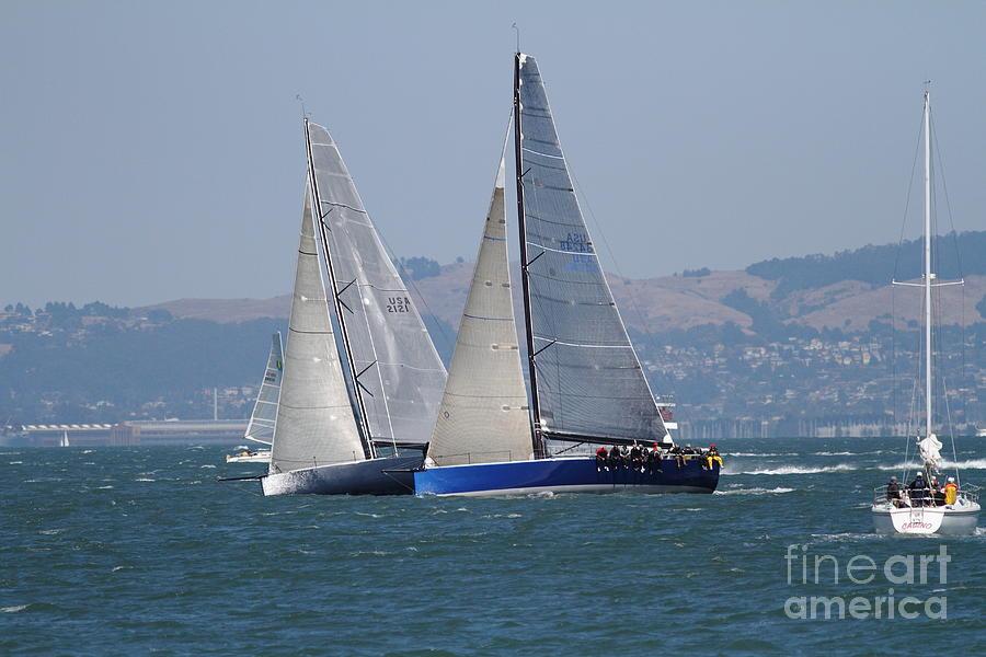 San Francisco Photograph - Sail Boats On The San Francisco Bay - 7d18323 by Wingsdomain Art and Photography