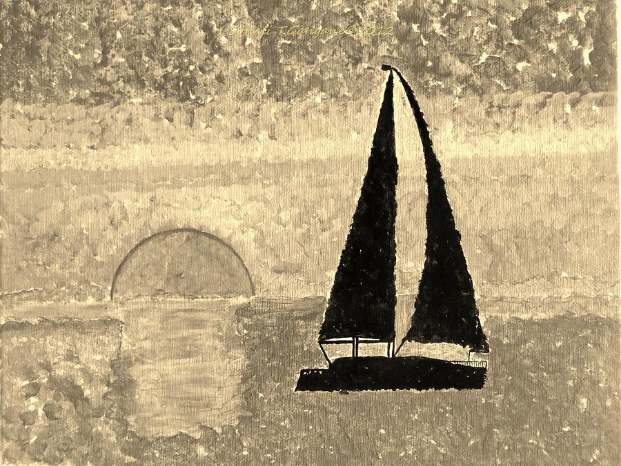 Sepia Sail Painting - Sail In Sepia Sea by Sonali Gangane