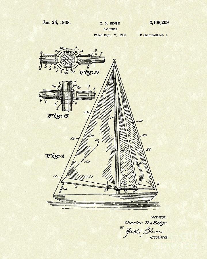 Edge Drawing - Sailboat 1938 Patent Art by Prior Art Design