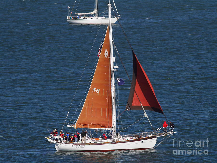 San Francisco Photograph - Sailboat In The San Francisco Bay . 7d7881 by Wingsdomain Art and Photography