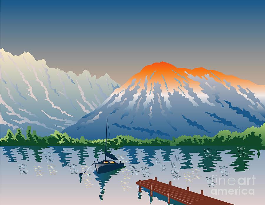 Illustration Digital Art - Sailboat Jetty  Mountains Retro by Aloysius Patrimonio