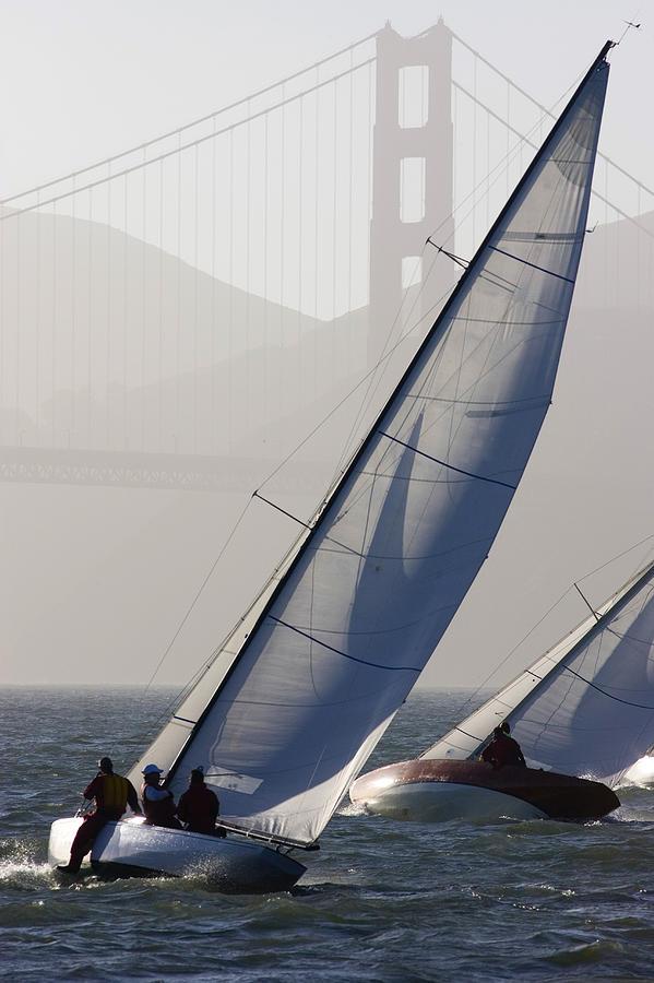 San Francisco Bay Photograph - Sailboats Race On San Francisco Bay by Skip Brown