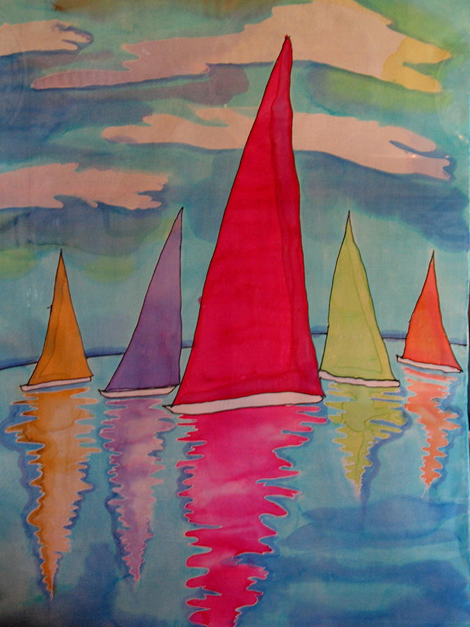 Sailboats Tapestry - Textile by Yvonne Feavearyear