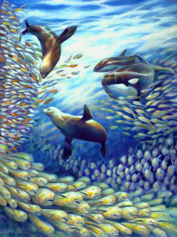 Oil Painting Painting - Sailfish Plunders Baitball IIi - Dolphin Fish Seals And Whales by Nancy Tilles