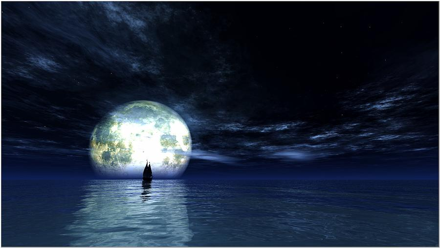 Sailing At Night... Digital Art by Tim Fillingim