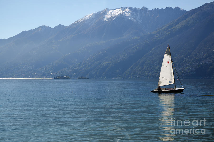Sailing Boat Photograph - Sailing Boat And Mountain by Mats Silvan